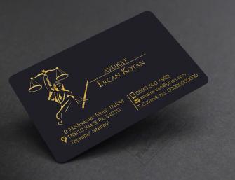 Kurumsal Avukat Kartvizitleri >>500 Adet Siyah Plike Altın&Gümüş Yaldızlı Lüks Kartvizit_VİPözel