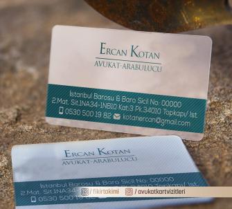 Avukat Arabulucu Kartvizitleri >>500 Adet Şeffaf Kartvizit, Kabartma Laklı Oval Kesimli
