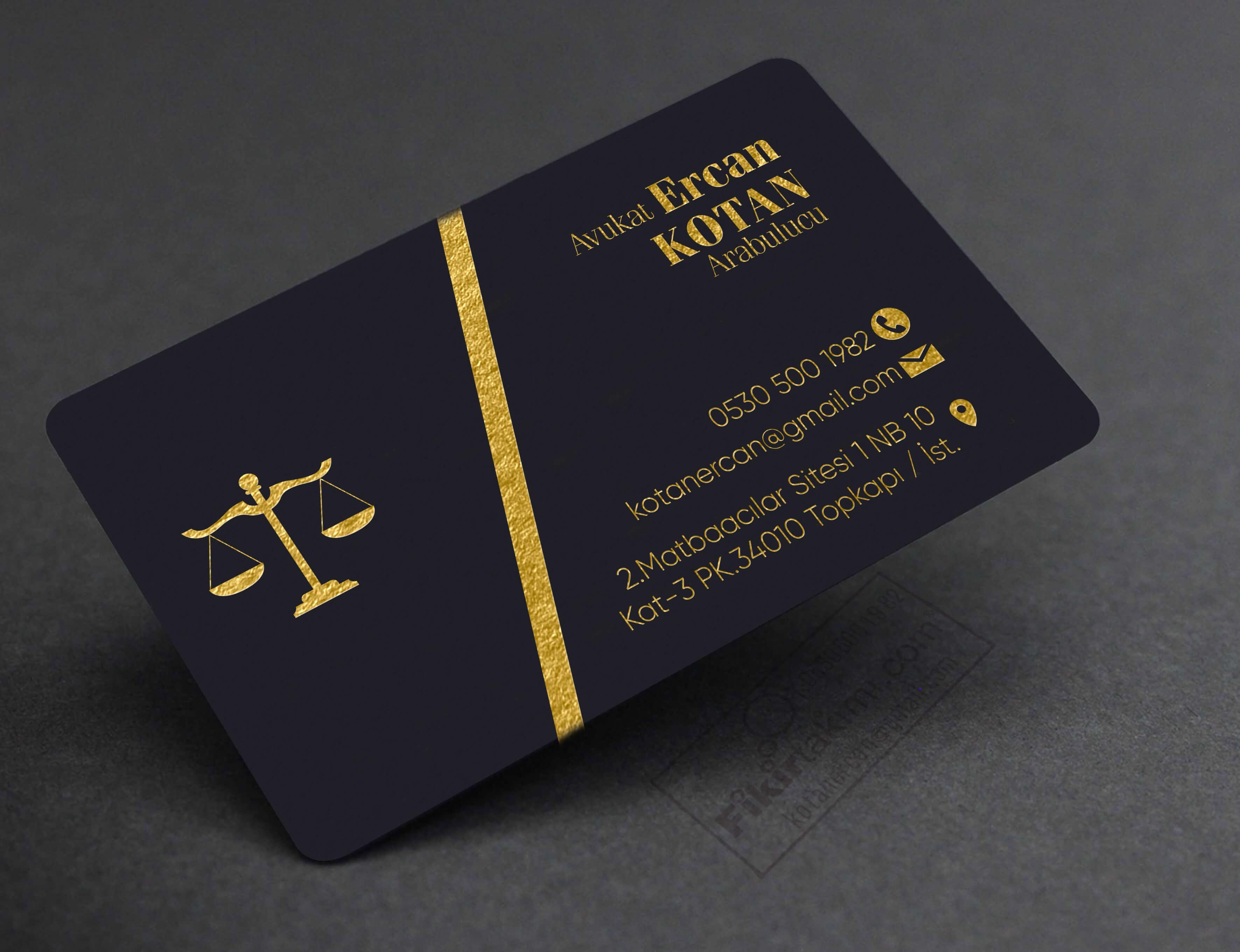Altın Yaldızlı Avukat Kartvizit