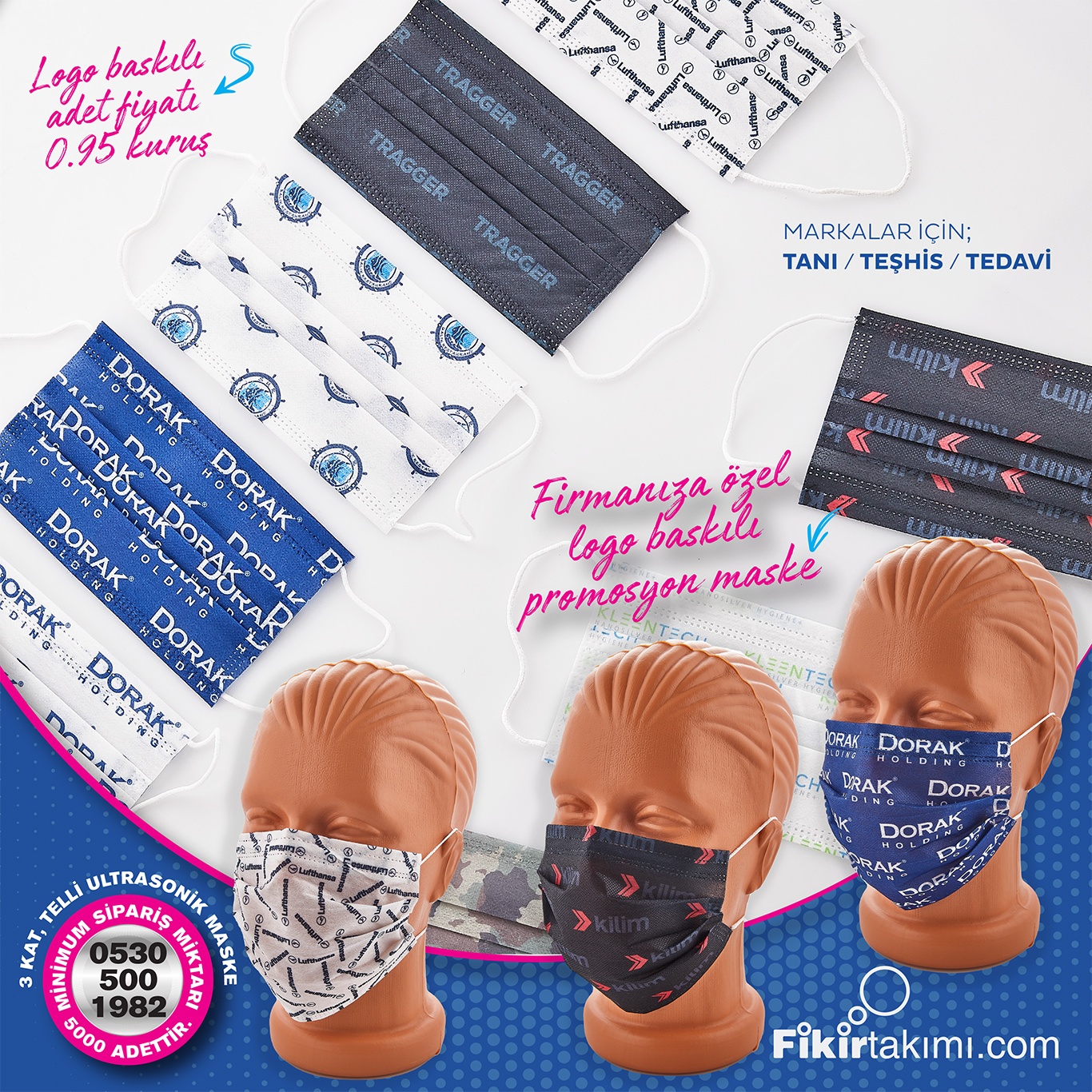 baskılı maske imalatı, kurumsal firmalara özel tasarımlı, ASGARİ 10 bin adet olarak imalat mevcuttur.