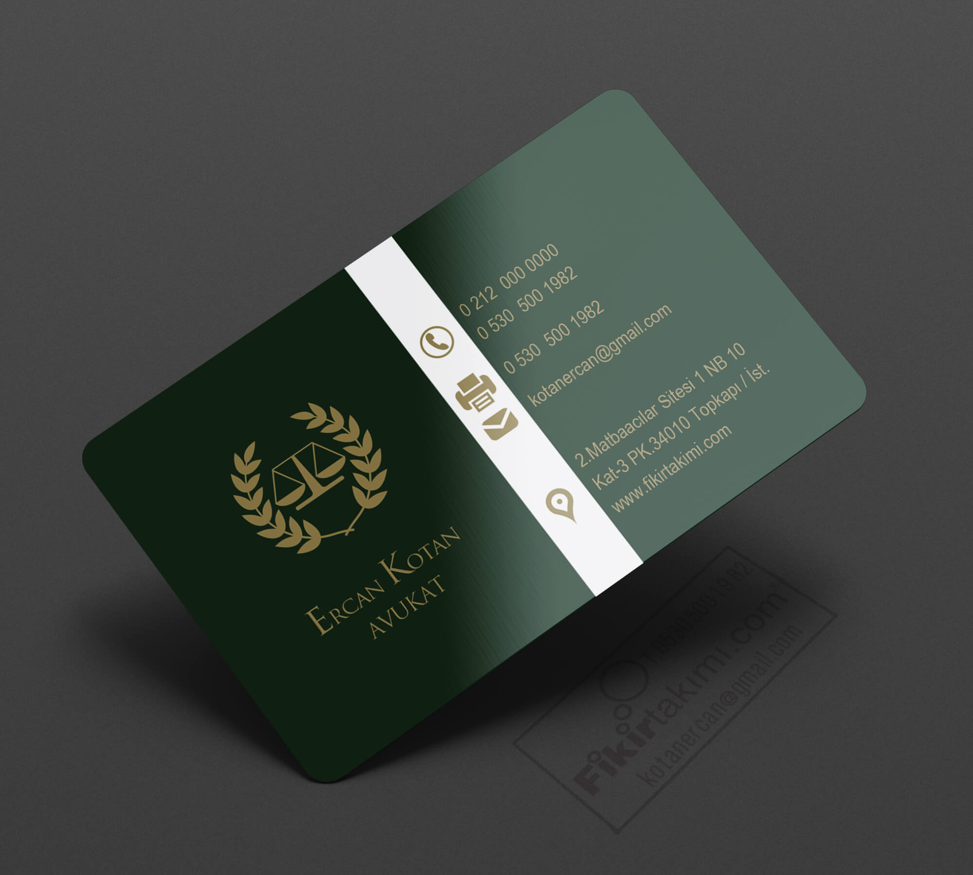 Koyu Yeşil Zeminli, Avukat Kartvizit